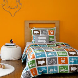 "Dwellstudio Transportation Multi Duvet Set - From the word ""go"", kids love moving vehicles, and with this Transportation pattern in Twin and Full Duvet Sets by DwellStudio they get a parking lot's worth (and then some)!"
