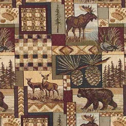 Rustic Log Cabin Lodge Upholstery Fabric - Woven jacquard premium upholstery grade fabric featuring deep woods animal theme images. Pattern includes moose, bear, deer and goose animals along with trees, pine cones and other related Northwoods and high country decor images. Fabric is very durable and suitable for upholstered furniture and heavy wear seating applications. High thread count and color fast material.