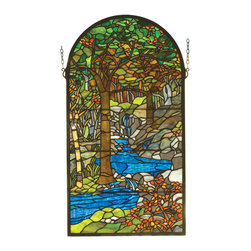 Meyda - 16 Inch W x 30 Inch H Tiffany Waterbrooks Windows - Color theme: Green 59 oaka amber grey