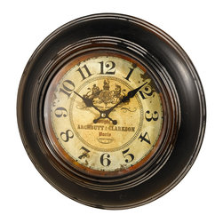 Pier Surplus - Antique Reproduction Metal and Glass Wall Clock - Battery Operated #HD221056 - This antique reproduction clock has been created with such craftsmanship, people won't believe it's battery operated! The glass encased face of the clock features a beautiful crest with the name of a perfumer and their location in Paris. Encased in round brown metal frame has that has a weathered look and gives this piece the charm of a cherished heirloom. Anyone could imagine this lovely clock hanging in a chic antique shop in Paris!
