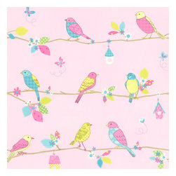 Brewster - Kids World Pretty Birds Sidewall Wallpaper - All is bright and beautiful with this charming scene of birds on your wall. This sweet, vibrant wallpaper would look great in your child's room, or dedicated play area. Next thing you know, they'll be chirping along with the birds on their playful perch!