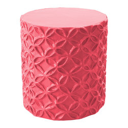 "Stray Dog Designs - Stray Dog Designs Flower Pink Stool/Accent Table - In vivid pink, this versatile piece lends texture and dimension to a room with its handcrafted papier-mache pattern of interlocking flowers in relief. Its cylindrical frame is reinforced with iron, making it a sturdy side table or comfortable seat. 16"" Dia. x 19""H; Papier-mache and rebar; Handcrafted by artisans from recycled materials; Finished with low VOC paint"
