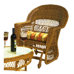 "Wicker Paradise - Cape Cod Wicker Glider Chair Natural - This Cape Cod wicker glider chair is made for outdoor use and proves to be low-maintenance. The seat is fully woven resin wicker, so this chair does not need a cushion. The cushions can be purchased separately. Measurements are 31"" wide, 29"" deep, 38"" high."