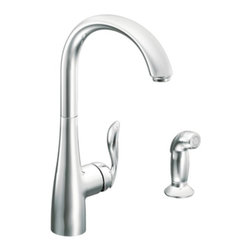 Moen Arbor Stainless Single-Handle Kitchen Faucet - Arbor's smooth profile is tailored to perfection. The slight flair of the handle and the curve of the spout make this a transitional look that works with a variety of decorating styles.