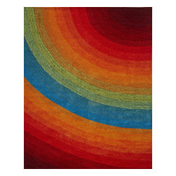 InnerSpace Luxury Products - InnerSpace Artistry Quarter Circle Rug - Rainbow 8'x10' - InnerSpace Indoor Artistry Quarter Circle Rug Collection - Rainbow.  The 8-ft x 10-ft flame-retardant area rug is crafted with cut and looped polyester thread.  It features a multi-dimensional, quarter-circle pattern and a dynamic rainbow color scheme that form the perfect style quotient for children's play rooms and contemporary decorating environments.  Featuring a 1.3-cm pile height, polyester yarn and threading, and a polyester/cotton blend backing, this versatile area rug is for indoor use.  Spot clean with carpet cleaner; to prevent color fading, do not saturate the stain; do not vacuum, remove loose dirt with a hand brush.  One Year Manufacturer Limited Warranty.  Also available in 5-ft x 7-ft.