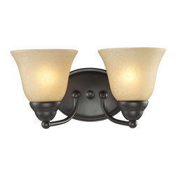 Z-Lite - Z-Lite 2114-2V Athena 2 Light Bathroom Vanity Light - The warm glow from amber tea-stained shades combined with the fixture's bronze finish, this two light vanity fixture is sure to make your room inviting, while filling it with ambience.Specifications:
