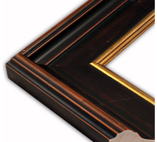 The Frame Guys - Concord Dark Wood with Gold Lip Picture Frame-Solid Wood, 10x10 - *Concord Dark Wood with Gold Lip Picture Frame-Solid Wood, 10x10