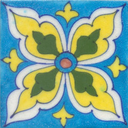 "Knobco - Tiles 4x4"", Green, Yellow and Turquoise - Green, Yellow and Turquoise Tile from Jaipur, India. Unique, hand painted tiles for your kitchen or other tiling project. Tile is 4x4"" in size."