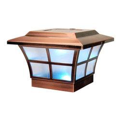 Classy Caps - Classy Cap Prestige Solar Post Cap - Copper - High Performance solar lights - stays lit for up to 12 hours