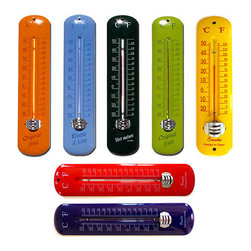 Enamel Thermometer - We all know that summer can be hot, hot, hot! Keep track of the creeping temps with this mercury-less, colorful, indoor/outdoor thermometer. I'd choose the yellow one!