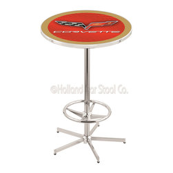 Holland Bar Stool - Holland Bar Stool L216 - 42 Inch Chrome Corvette - C6 Red Pub Table W/ Gold Acce - L216 - 42 Inch Chrome Corvette - C6 Red Pub Table W/ Gold Accent  belongs to General Motors Collection by Holland Bar Stool Made for the ultimate Corvette - C6 enthusiast, impress your buddies with this knockout from Holland Bar Stool. This L216 Corvette - C6 table with retro inspried base provides a quality piece to for your Man Cave. You can't find a higher quality logo table on the market. The plating grade steel used to build the frame ensures it will withstand the abuse of the rowdiest of friends for years to come. The structure is triple chrome plated to ensure a rich, sleek, long lasting finish. If you're finishing your bar or game room, do it right with a table from Holland Bar Stool.  Pub Table (1)
