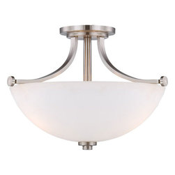 Nuvo Lighting - Bentley Brushed Nickel Finish Three Light Semi Flush with Frosted Glass - - Would you call them classic or contemporary?  Simple or stylish?  Elegant or understated?  Probably all of the above.  The Bentley collection is nothing if not versatile.  With chandeliers, semi-flush domes, pendants and one to three light vanities, beautifully finished in brushed nickel or hazel bronze and accented by frosted glass, there is a Bentley fixture to add just the right design touch to any kitchen, bath or dining room.  - Frosted Glass  - Bulb not included  - Metal, Glass Nuvo Lighting - 60/5017