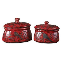 Uttermost - Uttermost 19660 Siana Ceramic Canisters In Red Set of 2 - Crackled, bright red ceramic with aged black undertones. Removable lids. Sizes: Sm-11x9x6, Lg-12x12x6.