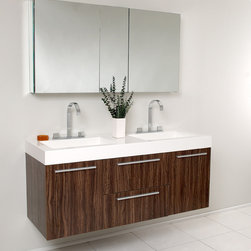 "54"" Opulento Double Vanity with Mirror - Walnut (FVN8013GW) - There is always great design in simplicity, especially with the Fresca Opulento Double Vanity.  Double the greatness with the 54"" Opulento Double sink vanity with accompanying mirrored medicine cabinet.  To ease any storage worries, beautiful mirrored medicine cabinet will satisfy immediate storage needs for two.  A great ensemble for those with room to spare but not without limitations on measurements.  Ideal for anyone looking for a winning combination of style, sleek design, and size that brings it all together to present something dashingly urban. Several free faucet styles to choose from. Optional side cabinets sold separately."