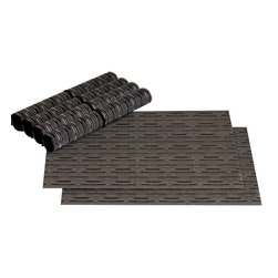 None - LaMont Home Caprine Black Placemat (Set of 6) - Add a touch of modern elegance to your dinners by placing your plates on these contemporary black placemats from LaMont Home Barton. Available in a pack of six,these lovely placemats feature a PVC-polyester construction for long-lasting durability.