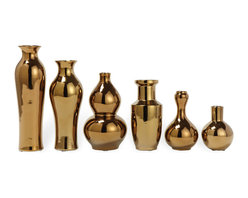 Kathy Kuo Home - Set of 6 Porcelain Antique Gold Plated Decorative Vase Set - Masters of disguise. Sleek and shiny, these vases give you the illusion that they're made of metal, but they're actually crafted of porcelain. They come in a variety of shapes and sizes, and can be used as glamorous accent pieces in your modern home, or filled with flowers for a more traditional feel.