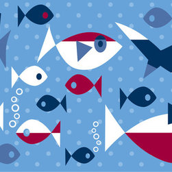 WallPops - Regatta Stripes Wall Decal - This nautical theme wall decor is adorable in a kids room! A cool polka dot blue wall strip stripe, swimming with a school of cool fish, makes a fun border.