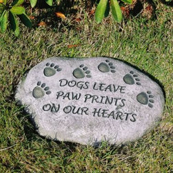 Evergreen Enterprises - Dogs Leave Paw Prints on our Hearts Tiding Stone - Dogs Leave Paw Prints on our Hearts Tiding Stone. Express your sentiments with Evergreen tiding stones. Words of wisdom, inspiration and wit offer a variety of choices for every garden or memorial site. Our stones are made of resin. Natural finish. 12 in.
