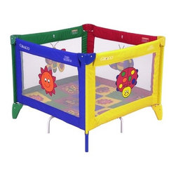 """Graco - Pack 'n Play TotBloc Playard - This Pack N' Play offers plenty of fun and entertainment for your baby. With an incredible 9 square feet of mesh-contained play space, your little one will have plenty of room in their play pen to work out their growing muscles as they crawl and explore. Along the way, they'll meet 4 interactive toys which are sure to delight and engage. A convenient travel bag is also included - just fold your Pack N' Play Playard up, stow it in the bag, and you and your little one are off to see the world! Features: -Pack 'n Play collection. -Bugs Quilt pattern. -Shape: Square. -Comes with 4 Interactive Toys to entertain your child . -Strong, stable frame, soft mattress/pad, and airy, meshed walls provide a comfortable environment for your little one . -Comes with great take along bag for easy travel convenience . -Sets up in less than a minute for use anywhere and everywhere . -The Pack N' Play Playard is for use by children less than 35 inches tall, less than 30 lbs, and unable to climb out. Dimensions: -30.5"""" H x 38"""" W x 38"""" D, 26 lbs. Care & Maintenance: To clean your Pack 'N Play Playard use a damp cloth or sponge with household soap or detergent and wipe clean the vinyl, plastic, and metal parts. The carry bag can be machine washed in lukewarm water; line dry or tumble dry low. Never use bleach to clean this product. If your Pack 'N Play Playard gets sandy, be sure to carefully remove sand from all surfaces before packing into the carry bag. ***Please note that these products cannot be shipped to Puerto Rico. We apologize for the inconvenience - feel free to call us regarding alternatives!"""
