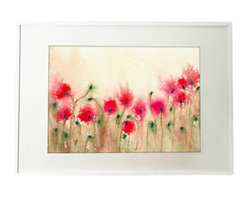 "Brazen Design Studio - Field of Poppies Art Print - ""Field of Poppies"" is a giclee reproduction of an original watercolour painting by professional artist Brazen Edwards, using Epson Ultrachrome professional archival ink printed on Somerset Velvet, which has the look and feel of watercolour paper."