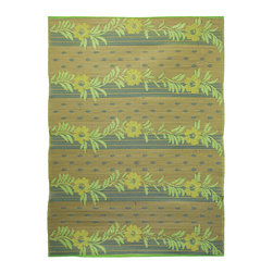 KOKO - Vines Floor Mat, Gold/Lime/Beige, 6' x 8' - Lovely color schemes in a not-too-delicate pattern add a stylish flourish to your floor. Plus, this mat is a breeze to clean — just hose off and drip dry.