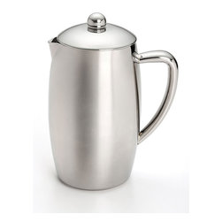 BonJour - BonJour Insulated Stainless Steel French Press - Enjoy piping hot flavorful coffee,perfectly brewed in this double wall insulated porcelain french press from BonJour. A patenting filter lid leaves less sediment in your cup.
