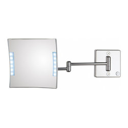 WS Bath Collections - Quadrololed 61-2 Lighted Magnifying Mirror 3x - Quadrololed 61-2 x3 by 7.9 x 7.9 x 18.1 Extension Magnifying Mirror, with LED Light, External Power Supply with Plug, in Chromed Plated Brass Structure and Frame in Chromed Plated Abs
