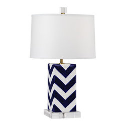 Robert Abbey - Mary Mcdonald Santorini Patterned Table Lamp, Small, Chevron - Mary McDonald's Santorini Collection for Robert Abbey features a table lamp with a blue and white design and clean white shade.