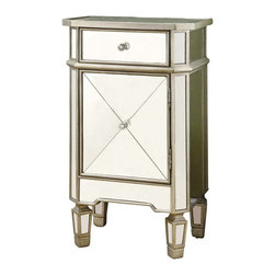 Monarch Specialties - Monarch Specialties 3702 Mirrored 1 Drawer Accent Cabinet - Be the talk of the town with this mirrored accent cabinet! this modern and edgy piece will no doubt be an eye catcher in your bedroom, hallway or living room. Its drawer and cabinet area with chic knobs, offers you space to store your clothes, blankets, keys or accessories. Its smooth top surface is perfect for adding pictures or decorative items. Add this to your room along with the rest of our mirrored collection.