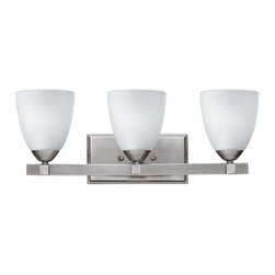Pinnacle Row Light - Three Lights - This versatile bath light fixture features a crisp, modern design with an Antique Brushed Nickel finish and three etched opal glass shades.