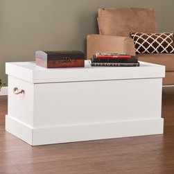 Upton Home - Upton Home Chatsworth Cocktail/ Coffee Trunk Storage Table - Bedding storage or as a cocktail/ coffee table that doubles as storage; the possibilities are endless with this Upton Home trunk storage table! The look of this trunk table with the deep storage is great for transitional to contemporary homes.