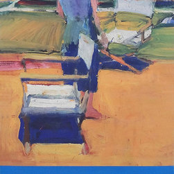 "Richard Diebenkorn Figure on a Porch Street Banner Wall Art - From the de Young museum an authentic, limited edition street banner to display in your home as spectacular wall art. A student of Richard Diebenkorn would be hard pressed to understand the artist's better-known ""Ocean Park"" work without a careful glimpse into his formative 13 years in Berkeley. His ""Berkeley Years"" from 1953 to 1966 were a time of focused attention on the human figure, which Diebenkorn later described as a ""problem"" that needed to be solved. Interestingly, the challenge he posed to himself during this time eventually led him back to abstraction in his later years. A fine example of the serious study of figure and geometric abstraction is Figure on a Porch, used by the de Young to promote its exhibition, Richard Diebenkorn: The Berkeley Years, 1953-1966."