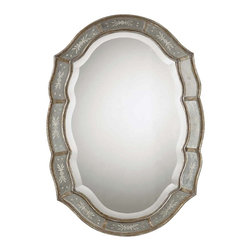 "Uttermost - ""Uttermost Fifi Mirror 1.375 x 24.875 x 35"""", Silver"" - ""This decorative mirror features a narrow inner and outer frame finished in heavily antiqued gold leaf with etched, antique mirrors. ACenter mirror has a generous 1 1/4"""" bevel.Designer: Grace FeyockDimensions: 1.375"""" depth by 24.875"""" width by 35"""" heightMaterial: PU/MDF/glass"""