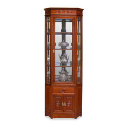 China Furniture and Arts - Rosewood Longevity Motif Corner Cabinet - Made of solid rosewood, this slim curio cabinet will exhibit your treasured collectibles with the best effect. The half-hexagon shape allows viewers to see the artwork from three sides. Museum quality lighting and mirror bring out all the details. Longevity motif, the symbol of good luck and prosperity is hand-carved on the two doors and the drawer. With this cabinet in your home, the cheerfulness is added to its surroundings. Hand applied natural rosewood finish. Three adjustable glass shelves for your convenience.