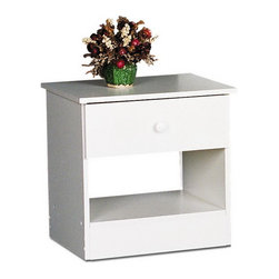 Prepac Furniture - Prepac Edenvale White 1 Drawer Night Stand - With its clean lines and classic shape, practical Edenvale White 1 Drawer Night Stand - Prepac Furniture will blend perfectly into almost any decor and provide for your bedside needs more than adequately! It features a rich white finish, plastic knob and a deep bottom drawer and open compartment to appeal to both your style and budget consciences.
