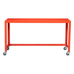 Go-cart Bright Orange Console Table - This console table's clean design and castor wheels make it a piece that works well in almost any home.