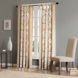 """Madison Park - Madison Park Lucia Window Curtain - Dramatic and bold diva damask printed on all cotton cloth. Hang on a rod pocket for a casual look or by using the back tabs for an updated look. Fits up to a 1.25"""" diameter rod. 100% Cotton, Rod Pocket, Back Tabs"""
