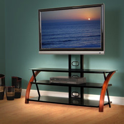 "AvistaUSA - Innovate Titans 50"" TV Stand - Titans features contemporary styling that includes arched wood frame rails with three cascading black glass shelves. The integrated tilt/swivel mount provides a sleek look to your TV and positions it at the ideal height. A beautiful plywood frame with elegant mahogany finish. The Titans features a universal swivel/tilt TV mount that supports flat-panel TVs up to 110 pounds and 55'' diagonal. All three safety glass shelves have elegant polished edges. Wide shelves provide vast storage for up to six components. The steel framed TV mount features a mesh grill that hides wires and cables. Open-shelf design assures components receive proper ventilation and allow deep components to extend beyond the shelf. All steel components offer a black high gloss, scratch resistant finish. The Titans exquisite design and finish is sure to complement your flat panel TV and blend with any home decor. Features: -Three cascading black glass shelves.-Integrated swivel and tilt mount for easy viewing.-TV bracket swivels 30 degrees left and right, 12 degrees up and 15 degrees down.-Steel mesh grill hides wires and cables.-Wide shelves provide storage for six components.-Supports flat panel TVs up to 55'' and 110 lbs.-Frame construction: Plywood.-Mahogany finish.-Innovate collection.-Distressed: No.-Collection: Innovate.-TV Size Accommodated: 55"".-Finish: Mahogany.-Material: Metal, glass and wood.-Number of Items Included: 1.-Exterior Shelves: No.-Drawers: No.-Cabinets: No.-Casters: No.-Accommodates Fireplace: No.-Lighted: No.-Media Player Storage: No.-Media Storage: No.-Remote Control Included: No.-Batteries Required: No.-Swatch Available: No.-Commercial Use: Yes.-Eco-Friendly: Yes.-Recycled Content: No.-Lift Mechanism: No.-Expandable: No.-TV Swivel Base: No.-Integrated Flat Screen Mount: Yes.-Non-Toxic: Yes.Specifications: -ISTA 3A Certified: Yes.-CARB 2 Certified: Yes.-CARB Certified: Yes.Dimensions: -Overall Product Weight: 86.5 lbs.-Overall Height - Top to Bottom: 52"".-Overall Width - Side to Side: 50"".-Overall Depth - Front to Back: 20.5"".-Shelving: Yes.Assembly: -Assembly Required: Yes.-Tools Needed: Allen wrench.-Additional Parts Required: No.Warranty: -Manufacturer provides limited 5 year warranty."