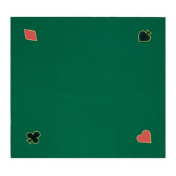 Trademark Global - Playing Felt Layout in Green - Layout comes with a heart, club, diamond and spade on each corner. 40 in. L x 40 in. W (1.30 lbs.)The perfect surface for card playing, it can easily be stapled to a homemade table for poker night.