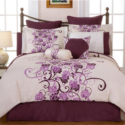 None - Grapevine Queen-size 12-piece Bed in a Bag with Sheet Set - Give your room a romantic makeover with this elegantly stylish 12-piece queen-size bedding set in a trendy grapevine design. This set has everything that you need to create the bedroom of your dreams,right down to the sheets and decorative pillows.