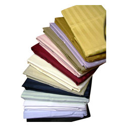 """Bed Linens - 600TC Stripe Pair of Pillow cases, 100% Egyptian cotton, King, Tan(Beige) - 100% Egyptian cotton, Sateen Weave. * 600 Thread count * Sateen Stripe * 4"""" Hemming"""