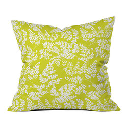 DENY Designs - DENY Designs Aimee St Hill Spring 3 Throw Pillow - Throw pillows aren't just for frills anymore. Liven up, accent, and complete any room in your home with the DENY Designs Aimee St Hill Spring 3 Throw Pillow. Each throw pillow is 100% custom printed after it has been ordered, to create a one-of-a-kind product. The innovative process includes using a six color dye printing technique that directly dyes the fabric fibers instead of a direct printing method. Colors stay as fresh and vivid as day one for fade-resistent products from this customer-focused company. The bright green and white pillow ushers in new life and a breath of fresh air to update your style. DENY Designs works with artists all over the world to create original statement pieces - each artist receives part of sales proceedsDo not wash; use a spot treatment with  mild detergentFade resistentUnique, custom-made for each and every customer