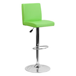 Flash Furniture - Flash Furniture Contemporary Green Vinyl Adjustable Height Bar Stool - This dual purpose stool easily adjusts from counter to bar height. The simple design allows it to seamlessly accent any area in the home. Not only is this stool stylish, but very comfortable to provide you with an amazing sitting experience! The easy to clean vinyl upholstery is an added bonus when stool is used regularly. The height adjustable swivel seat adjusts from counter to bar height with the handle located below the seat. The chrome footrest supports your feet while also providing a contemporary chic design.