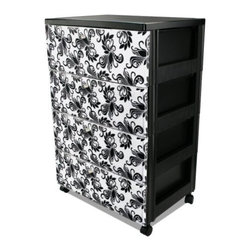 IRIS USA, Inc. - Premium 4-Drawer Wide Chest - Add versatile storage to any space in the home or office with an Premium Top four-Drawer Storage Chest. Ideal for organizing toys in a children's room, clothing in the dorm or supplies in the office. Each drawer has Florentine inner graphics that are easily removable for customization.