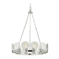 "Candice Olson - Cecil Nautical Compass Rose Modern Round Silver Chandelier - Drawing upon traditional and nautical influences, this unique circular chandelier combines a polished nickel finish with soft light cast through a circular, frosted glass lens etched with a ""star"" motif.  Easily incorporated into a colonial or even a modern style room."