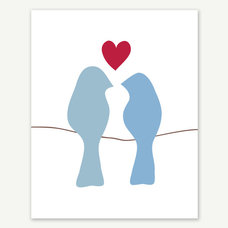 modern artwork Love Birds on a Wire Art Print 8x10