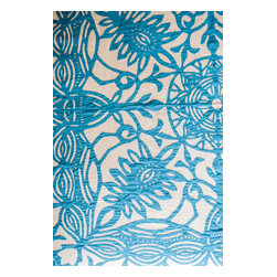n/a - Applique Bed Cover Devi - Incredible hand made applique bed cover from India.  Bright blue lacey design adds a lovely layer to any room.  Works for king or queen size bed, or use as a large throw for a sofa.