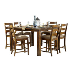 Homelegance - Homelegance Ronan 7 Piece Counter Height Table Set in Burnished Rustic - With the look of natural wood planking and a burnished rustic finish, the Ronan Collection melds with your image of a transitionally styled dining room. The substantially sized table features an extension leaf that allows for the expansion of the table to seat eight. Beige fabric covers the seats of the coordinating chair accenting the table perfectly.
