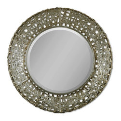 Uttermost - Uttermost Alita Decorative Mirror in BLACK - Shown in picture: This mirror features a frame made of strips of hand forged metal finished in champagne with black dry brushing and antique stain.  MATERIAL: METAL & RATTAN