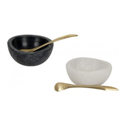 Marble Salt And Pepper Cellars - Replace those old salt and pepper shakers with these stylish marble bowls and pretty little brass spoons to instantly update your tabletop.